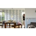 Brigitte Home Bordüre mit Glitter, Vlies, floral, blau, creme, weiss 5,00 m x 0,13 m