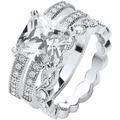Buckley London Ring Messing rhodiniert 3-teilig Kristalle weiß 22271 50 (15,9)