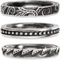 Cai Ring 925/- Sterling Silber matt oxidiert 3er Set weiß 21209 56 (17,8)