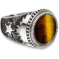 Cai Ring 925/- Sterling Silber mattiert Tigerauge weiß 21207 58 (18,5)