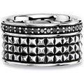 Cai Ring 925/- Sterling Silber Spinell schwarz Silbergrau 20695 58 (18,5)