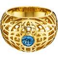 Cai Ring 925/- Sterling Silber vergoldet Topas blau gelb 20567 50 (15,9)