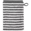cawö Waschhandschuh anthrazit 16 x 22 cm, Querstreifen