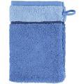 cawö Waschhandschuh blau 16 x 22 cm, zweifarbig