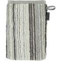 cawö Waschhandschuh graphit 16 x 22 cm, mehrfarbige Streifen