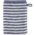 cawö Waschhandschuh nachtblau 16 x 22 cm, Querstreifen