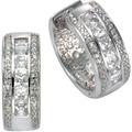 Celesta Silber Creolen 925/- Sterling Silber Zirkonia Silbergrau 9411