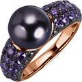 Celesta Silber Ring 925/- Sterling Silber vergoldet Perle rot 22647 54 (17,2)