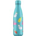 Chillys Isolierflasche Pool Party Day Einhorn Flamingo 500ml, hält 24 Stunden kalt und bis zu 12 Stunden heiß, auslaufsicher, kohlensäuredicht