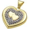 Crystelle Gold Medaillon Swarovski Kristalle weiß 570