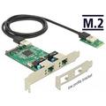 DeLock Konverter M.2 Key B+M Stecker > 2 x Gigabit LAN - Low Profile Formfaktor
