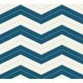 Designdschungel grafische Mustertapete blau metallic weiß