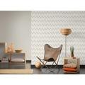 Designdschungel Vliestapete Tapete mit Zickzack Muster metallic weiß 10,05 m x 0,53 m