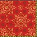 Duni Zelltuchservietten Xmas Deco Red 24 x 24 cm 3-lagig 1/4 Falz 50 Stück