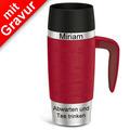 emsa Isolierbecher MIT GRAVUR - OBEN & UNTEN - (z.B. Namen) TRAVEL MUG Handle rot 360ml mit Griff/Henkel
