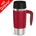 emsa Isolierbecher MIT GRAVUR - OBEN - (z.B. Namen) TRAVEL MUG Handle rot 360ml mit Griff/Henkel