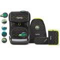 ergobag Cubo Light Schulranzen-Set 5tlg. inkl. Klettie-Set drunter und drübär schwarz grün zickzack