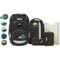 ergobag Pack Schulranzen-Set 6tlg. inkl. Klettie-Set drunter und drübär schwarz grün zickzack