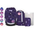 ergobag Pack Special Edition Stripes Schulranzen-Set 6tlg. inkl. Klettie-Set bärgasus glow lila galaxie glow
