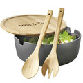Esmeyer Salatschüssel BROOKLYN MIT GRAVUR (z.B. Namen) anthrazit mit Deckel und 2-teiligem Salatbesteck aus Bambus (Servierschüssel)