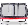 EXIT Elegant Premium Trampolin Rechteckig mit Sicherheitsnetz Deluxe Rot 214x366cm