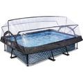 EXIT Frame Pool 300x200x65cm (12v) - Grau + Sonnendach