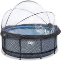 EXIT Frame Pool ø360x122cm (12v) - Grau + Sonnendach