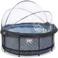 EXIT Frame Pool ø360x122cm (12v Sandfilter) – Grau + Sonnendach