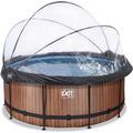 EXIT Frame Pool ø360x122cm (12v Sandfilter) – Holz optik + Sonnendach + Wärmepumpe
