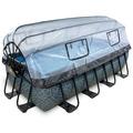 EXIT Frame Pool 4x2x1m (12v Sandfilter) - Grau + Sonnendach + Wärmepumpe