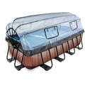 EXIT Frame Pool 4x2x1m (12v Sandfilter) – Holz optik + Sonnendach + Wärmepumpe