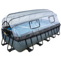 EXIT Frame Pool 5.4x2.5x1m (12v Sandfilter) - Grau + Sonnendach + Wärmepumpe