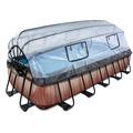 EXIT Frame Pool 5.4x2.5x1m (12v Sandfilter) - Holz optik + Sonnendach + Wärmepumpe