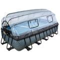 EXIT Pool Steinfarbend 540x250x100cm mit Abdeckung und Filterpumpe - grau