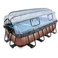 EXIT Pool Wood 400x200x100cm mit Abdeckung und Filterpumpe - braun