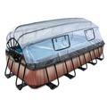 EXIT Pool Holzfarbend 540x250x100cm mit Abdeckung und Filterpumpe - braun