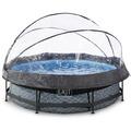 EXIT Steinfarbener Pool ø300x76cm mit Abdeckung und Filterpumpe - grau
