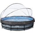 EXIT Steinfarbener Pool ø360x76cm mit Abdeckung und Filterpumpe - grau