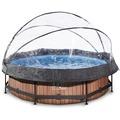EXIT Holzfarbener Pool ø300x76cm mit Abdeckung und Filterpumpe - braun