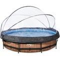 EXIT Holzfarbener Pool ø360x76cm mit Abdeckung und Filterpumpe - braun