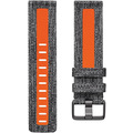 FitBit Versa 2, Woven Band, Charcoal/Orange, Large