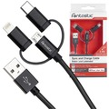 Fontastic Essential Essential Datenkabel Trio 1m schwarz Lightning/Micro USB/Type-C PVC Kabel/-Ummantelung