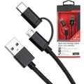 Fontastic Prime Datenkabel Duo Micro USB/Type-C 1.25m Nylon sw