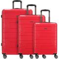 Franky PP12 4-Rollen Kofferset 3tlg. mit Doppelrollen bright red