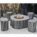 Gardenforma Sitzgruppen Set: Gas Feuerstelle Manchester aus Faserbeton in Baumstammoptik, hellgrau & 4x Hocker