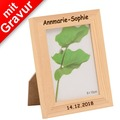 Glorex Bilderrahmen mit Glas MIT GRAVUR (z.B. Namen) passend für Fotos im Format 8x10cm aus Holz Kiefer unbehandelt