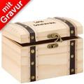 Glorex Schatztruhe MIT GRAVUR (z.B. Namen) L17xB12,5xH12cm, Geschenkbox aus Holz Kiefer unbehandelt