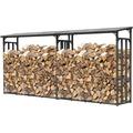 Grasekamp 2 Stück Kaminholz Lager 200 x 60 x 203  cm mit Doppelstegplatten Regal Aussen  Stapelhilfe Grau