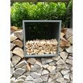 Grasekamp Box Anmachholz zu Kaminholzunterstand  Kaminholzlager 68 x 48 x 48 cm Grau