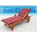 Grasekamp Gartenliege Rio Grande mit Auflage Rubin  Holz Liege Sonnenliege Relaxliege Rot